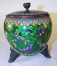 Cloisonne Footed Jar with Lid