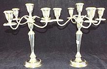 Pair of Alvin Sterling 5 Light Candelabras