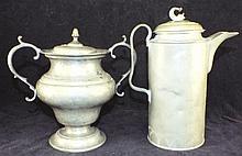 Pewter Tankard and Pewter Sugar Bowl