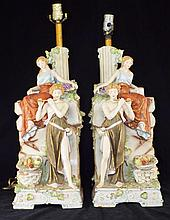 Pair of Hand Painted Porcelain Figural Lamp Bases