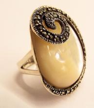 Sterling Silver Marcasite & Mother Of Pearl Ring