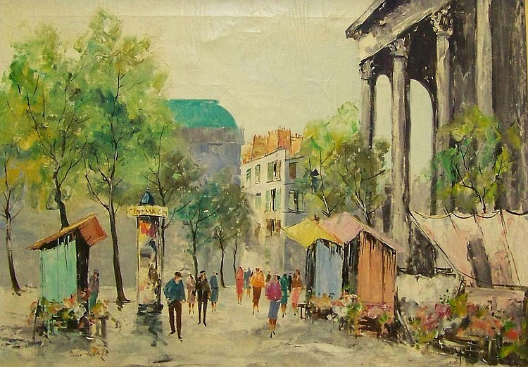Oil on canvas, Paris scene