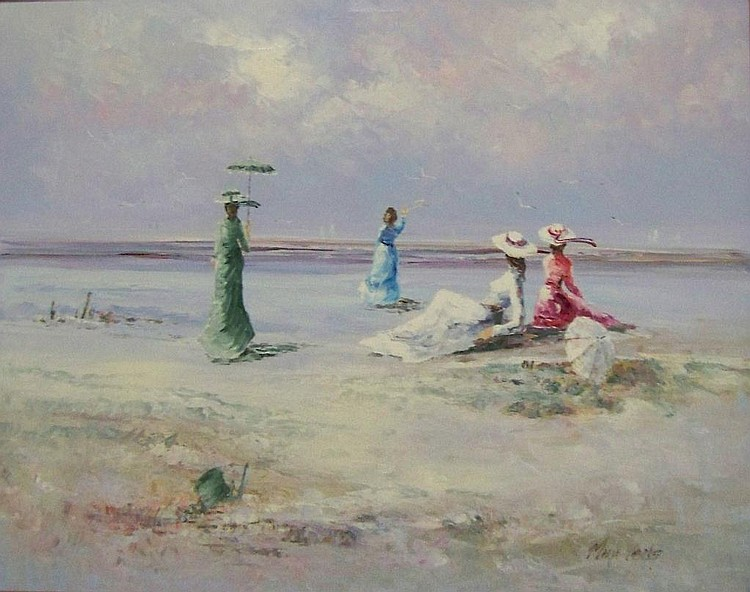 Marie Charlot oil on canvas, beach scene