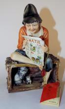 Capodemonte Figurine Of Boy Reading Newspaper