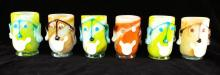 Set Of 6 Italian Art Glass Decorated Cups