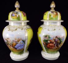 Pair Of Porcelain Decorated Lidded Jars