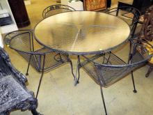Black Wrought Iron Patio Table And Four Chairs