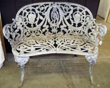 White Cast Iron Garden Bench