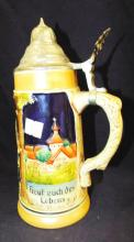 Western Germany Stein With Pewter Lid