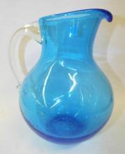 Blue Art Glass Pitcher