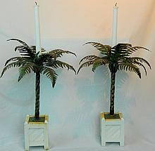 Pair of Vintage Tin Tole Palm Tree Candlesticks
