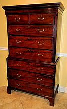 English 18th Century Mahogany Chest on Chest