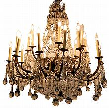 Massive Edison Crystal and Bronze Chandelier