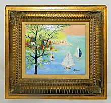 Enameled Plaque of Sailboats in Gilt Frame