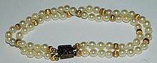 14K and Sterling Silver Pearl Bracelet