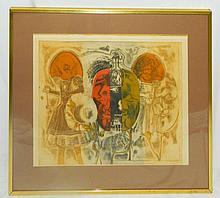 Modernist Print, Framed and Under Glass