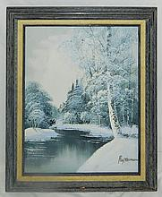 Ray Norman Oil on Canvas of Snow Scene