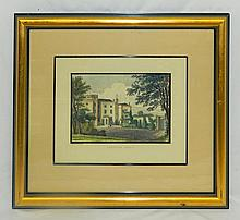 Hand Colored W. Faithorn Engraving of Langton Hall