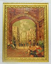 Oil on Canvas of City Scene in Gilt Frame