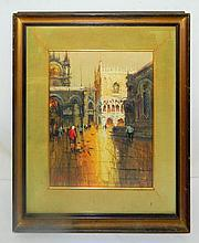 Elio Lazzari Oil on Canvas of City Scene