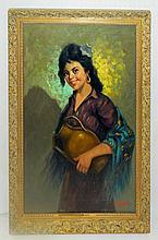 Ranieko Oil on Board of Woman with Jar