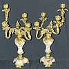 Pair of Bronze and Marble French Candelabra