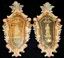Pair of Venetian Porcelain Mirrors
