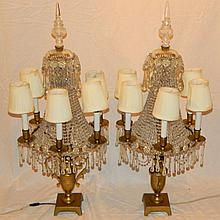 Pair of Bronze and Crystal Candelabra
