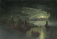 Artist Signed Oil on Canvas Night Scene
