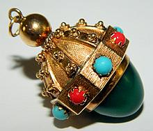 18 kt. gold, coral, turquoise and jade pendant