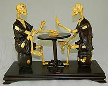 Ivory and Rosewood Signed Japanese Skeletons