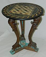 Side Table with Wood Carved Base and Marble Top