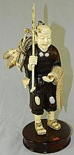 Ivory and Rosewood Signed Japanese Man with Fish