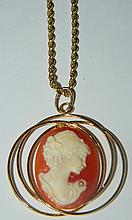 18 kt. gold cameo and chain signed Milor