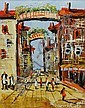Morris Katz oil on board, street scene