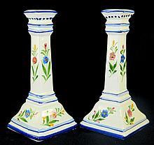 Signed Handpainted Porcelain Candlesticks