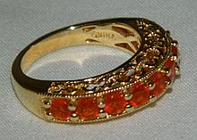 Sterling Silver Ring with Orange Stones