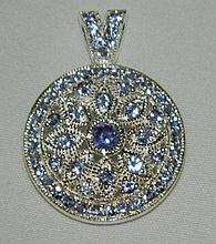 Sterling Silver Pendant with Clear and Blue Stones