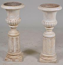 Pair of White Marble Plant Stands