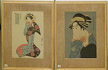 Pair of Signed Oriental Wood Block Prints