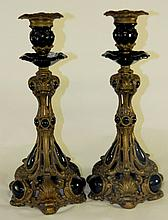 Bronze and Black Glass Candlesticks