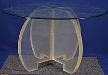 Lucite Table with Beveled Glass Top