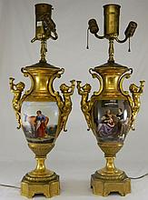 Pair of Bronze and Hand Painted Porcelain Lamps