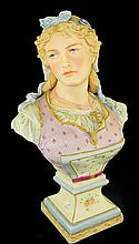 Hand Painted Bisque Head Bust of Lady