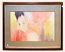 Mildred Voorhees Watercolor, The Dreamer