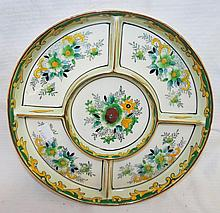 Hand Painted Japan Divided Platter In Case