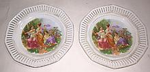 Pair of Bavaria Porcelain Figural Plates