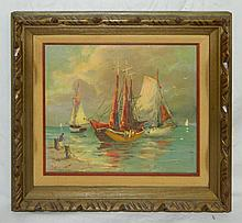 Artist Signed Oil on Canvas of Sailboats