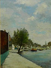 Manes Lichtenberg Oil on Canvas Harbor Scene
