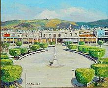 Rafael de Arazoza Oil on Canvas of City Square